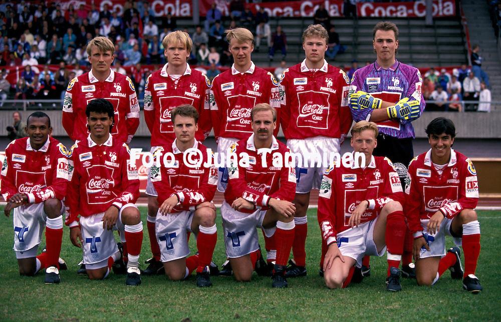 16.05.1993, Pori, Finland..Veikkausliiga / Finnish League, FC Jazz v FC Kuusysi..FC Jazz, back row, left to right: Jarmo Alatensiö, Lasse Karjalainen, Vesa Rantanen, Antti Sumiala, Tommi Koivistoinen..Front row, l to r: Dionisio, Piracaia, Risto Koskikangas, Miika Juntunen, Rami Nieminen, Rodrigo..©Juha Tamminen