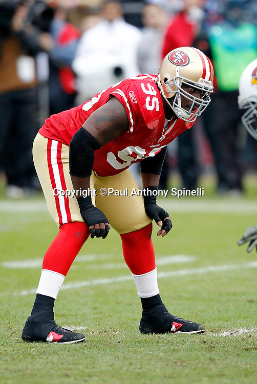 San Francisco 49ers defensive tackle Ricky Jean-Francois (95) gets set for the snap during the NFL week 17 football game against the Arizona Cardinals on Sunday, January 2, 2011 in San Francisco, California. The 49ers won the game 38-7. (©Paul Anthony Spinelli)