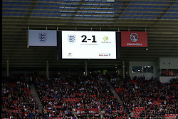 The final score reads England 2-1 Australia - Mandatory by-line: Matt McNulty/JMP - 27/05/2016 - FOOTBALL - Stadium of Light - Sunderland, United Kingdom - England v Australia - International Friendly
