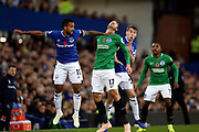 Everton striker Theo Walcott (11), Brighton and Hove Albion forward Glenn Murray (17) and Everton defender Seamus Coleman (23) during the Premier League match between Everton and Brighton and Hove Albion at Goodison Park, Liverpool, England on 3 November 2018.