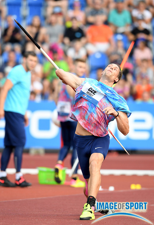Vitezslav Vesely (CZE) places sixth in the javelin with a throw of 269-6 (82.16m) during the 56th Ostrava Golden Spike in an IAAF World Challenge meeting at Mestky Stadion in Ostrava, Czech Republic on Wednesday, June 28, 20017. (Jiro Mochizuki/Image of Sport)