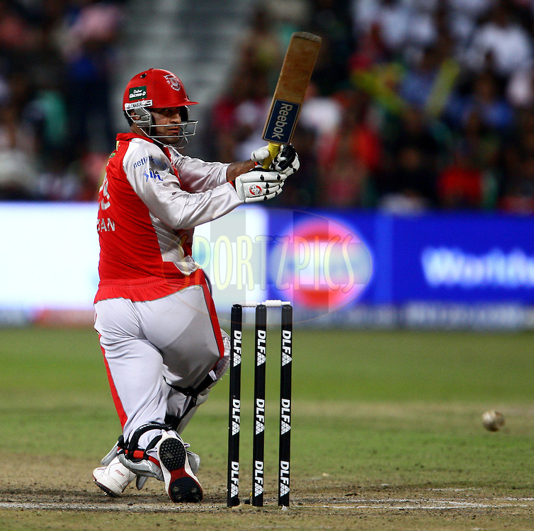 DURBAN, SOUTH AFRICA - 1 May 2009.Irfan feels confidant about this one during the IPL Season 2 match between Kings X1 Punjab and the Royal Challengers Bangalore held at Sahara Stadium Kingsmead, Durban, South Africa..