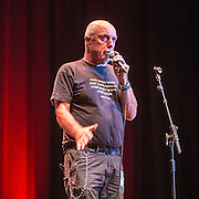 Attila the stockbroker, host for the #KeepCorbyn event, part of the #JC4PM tour a fringe event orgainised as part of the TUC 2016 by PCS. Brighton, UK.