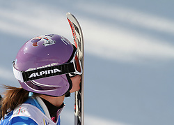 14.02.2013, Planai, Schladming, AUT, FIS Weltmeisterschaften Ski Alpin, Riesenslalom,  Damen, 2. Durchgang, im Bild Tina Maze (SLO), Kuss // Tina Maze of Slovenia kisses her ski after 2nd run of ladies Giant Slalom at the FIS Ski World Championships 2013 at the Planai Course, Schladming, Austria on 2013/02/14. EXPA Pictures © 2013, PhotoCredit: EXPA/ Martin Huber
