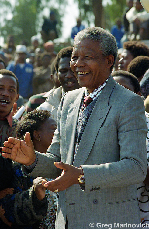 ANC leader Nelson Mandela at Phola Park, Thokoza, Transvaal, South Africa, 30 May 199