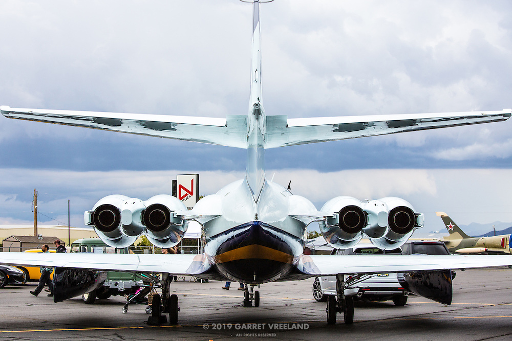 The rear view of the vintage corporate jet was particularly stunning. One could definitely see design relationships to many of the vehicles displayed here.
