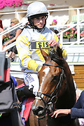ZAAKI (3) ridden by Ryan Moore and trained by Sir Michael Stoute enter the Winners Enclosure after winning The Group 3 Sky Bet & Symphony Group Strensall Stakes over 1m 1f (£100,000)  during the Ebor Festival at York Racecourse, York, United Kingdom on 24 August 2019.