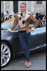 London Olympics 2012 Golden Girl Jessica Ennis in London, Thursday, 1st November 2012 with the new F-Type Jaguar that she will drive during the Lord Mayor's Show on Nov 10th. Photo by: Stephen Lock / i-Images<br />