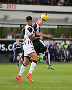 Dundee's James McPake out jumps Dunfermline's Ben Richards-Everton - Dunfermline Athletic v Dundee - Scottish League Cup at East End Park<br /> <br />  - © David Young - www.davidyoungphoto.co.uk - email: davidyoungphoto@gmail.com