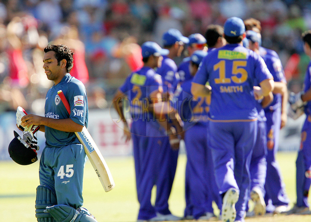 PORT ELIZABETH, SOUTH AFRICA - 02 May 2009. Rohit Sharma leaves as the Royals celebrate his wicket during the  IPL Season 2 match between the Deccan Chargers and the Rajatshan Royals held at St Georges Park in Port Elizabeth , South Africa..