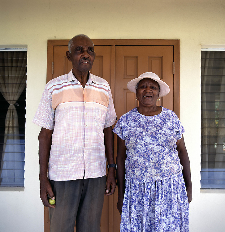 Juliet Greenaway and her husband James, former farmers from Dyres in the south. Thousands were evacuated from their homes in the south of the island after it was abandoned after the 1995 and 1997 eruption of the Soufriere Hills volcano. The southern area which contained most of the farm land is still out of bounds to everyone except scientists..