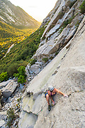 Julia Geisler on Smitty's Wet Dream 5.9, Kermit's Wall, Little Cottonwood Canyon, Utah