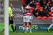 Goal Jon Taylor Of Doncaster Rovers Celebrate with Niall Ennis Of Doncaster Rovers as he scores a goal to make it 2-0 during the EFL Sky Bet League 1 match between Doncaster Rovers and Bristol Rovers at the Keepmoat Stadium, Doncaster, England on 19 October 2019.