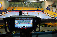 TV broadcast production by Multiproduction during handball match on October 12, 2014 in Kielce Poland<br /> <br /> Picture also available in RAW (NEF) or TIFF format on special request.<br /> <br /> For editorial use only. Any commercial or promotional use requires permission.<br /> <br /> Mandatory credit:<br /> Photo by © Adam Nurkiewicz / Mediasport
