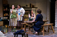 Tamara McGonagle (Maggie Mundy), Margaret Lundberg (Agnes Mundy), Nerrishia Bodwell (Rose Mundy) in the kitchen with their sister Doreen Fotino Sheppard (Kate Mundy) during dress rehearsal for Dancing at Lughnasa with Winnipesaukee Playhouse on Tuesday evening.  (Karen Bobotas/for the Laconia Daily Sun)