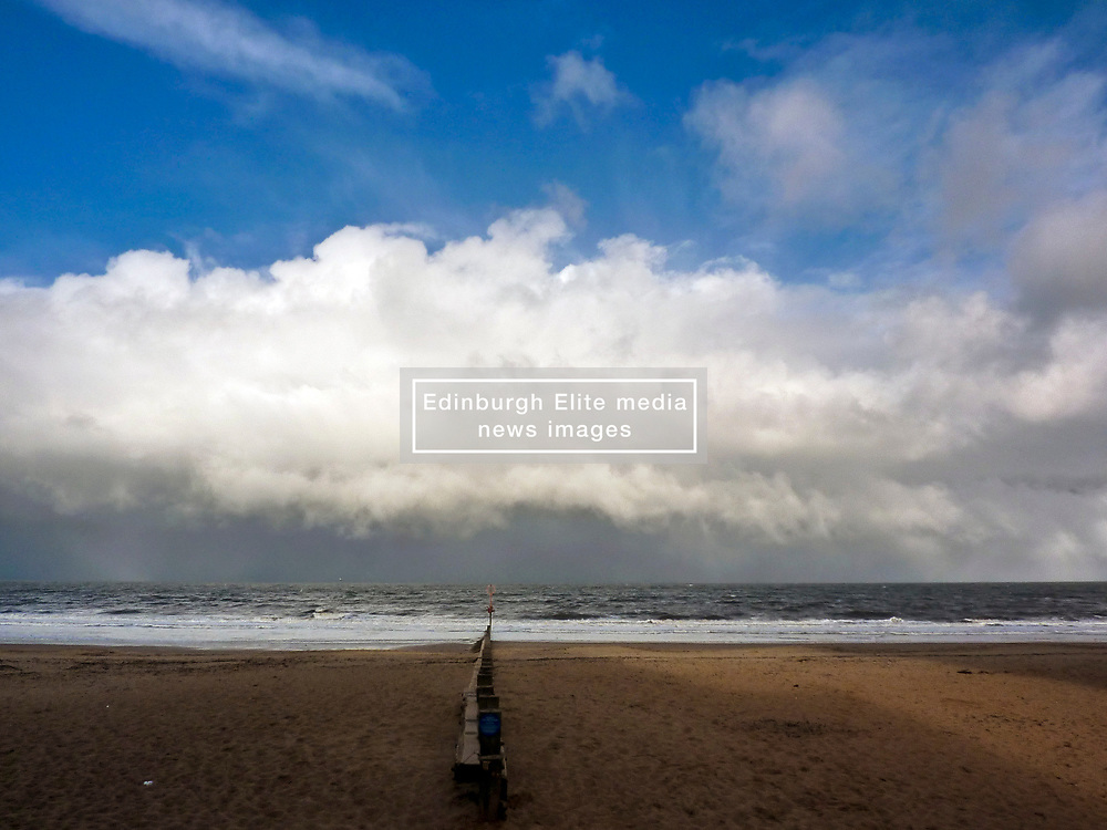The much heralded winter storm finally reached Edinburgh thia afternoon. Here it is fast approaching the beach at Portobello, Edinburgh. © Jon Davey/ EEm
