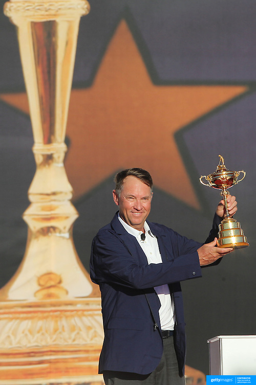 Ryder Cup 2016. Day Three. The United States Captain Davis Love III with the Ryder Cup after the United States victory in the Ryder Cup tournament at Hazeltine National Golf Club on October 02, 2016 in Chaska, Minnesota.  (Photo by Tim Clayton/Corbis via Getty Images)