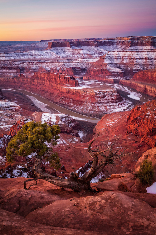 A new year snow blankets the cliffs of Dead Horse Point in Southern Utah on a cold Winter morning.