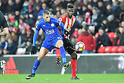 Leicester city striker Islam Slimani (19) and Papy Djilobodji (5) Sunderland AFC defender  during the Premier League match between Sunderland and Leicester City at the Stadium Of Light, Sunderland, England on 3 December 2016. Photo by Ian Lyall.