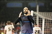 Sheffield Wednesday striker Atdhe Nuhiu after missing a chance during the Sky Bet Championship match between Fulham and Sheffield Wednesday at Craven Cottage, London, England on 2 January 2016. Photo by Matthew Redman.