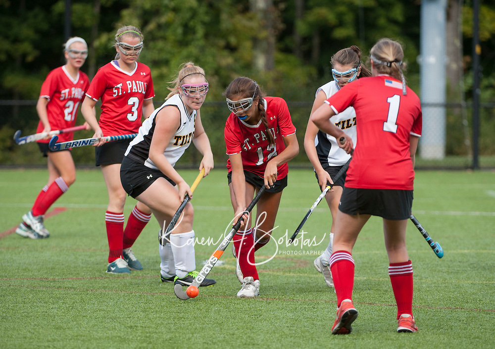 St Paul's School varsity field hockey versus Tilton School September 17, 2014.  ©2014 Karen Bobotas Photographer