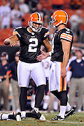 Sept. 2, 2010; Cleveland, OH, USA; Cleveland Browns punter Reggie Hodges (2) celebrates with place kicker Phil Dawson (4) after he kicked the game winning filed goal during the final seconds  of the fourth quarter against the Chicago Bears at Cleveland Browns Stadium. The Cleveland Browns beat the Chicago Bears 13-10. Mandatory Credit: Jason Miller-US PRESSWIRE