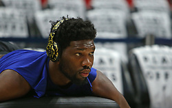 April 19, 2018 - Miami, FL, USA - Philadelphia 76ers center Joel Embiid receives treatment before the start of play against the Miami Heat in Game 3 of a first-round NBA playoff series at AmericanAirlines Arena in Miami on Thursday, April 19, 2018. (Credit Image: © David Santiago/TNS via ZUMA Wire)
