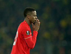 DORTMUND, GERMANY - Thursday, April 7, 2016: Liverpool's Divock Origi looks dejected after missing a chance against Borussia Dortmund during the UEFA Europa League Quarter-Final 1st Leg match at Westfalenstadion. (Pic by David Rawcliffe/Propaganda)