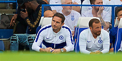 LONDON, ENGLAND - Sunday, August 18, 2019: Chelsea's manager Frank Lampard reacts as his side concede an equalising goal during the FA Premier League match between Chelsea's  FC and Leicester City FC at Stamford Bridge. (Pic by David Rawcliffe/Propaganda)