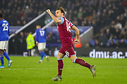 Goal West Ham United midfielder Mark Noble (16) scores from the penalty spot and celebrates 1-2 during the Premier League match between Leicester City and West Ham United at the King Power Stadium, Leicester, England on 22 January 2020.