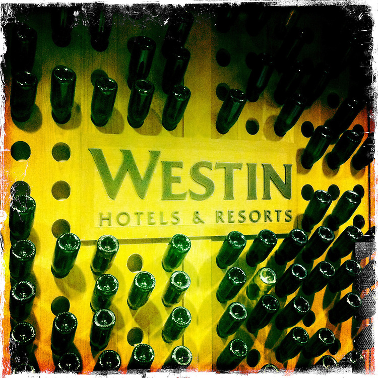 Napa Adventures Spring 2012:  Westin hotel lobby with wine bottle wall.