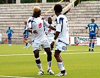 "Fotball Adeccoligaen 2008<br /> 3 August 2008 Tinfoss Arena<br /> <br /> Resultat 1 - 1<br /> <br /> Notodden FK vs Haugesund<br /> <br /> <br /> Foto: Robert Christensen - Digitalsport<br /> <br /> <br /> Haugesund målscorer Djedje Victorien jubler og danser ""samba"""