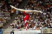 17 August 2004: Russian Gymnast LIUDMILA EZHOVA (RUS) competing in the beam event during the Women's Artistic Gymnastics Team Final in the Olympic Indoor Hall at the 2004 Olympic Games, Athens, Greece. <br />