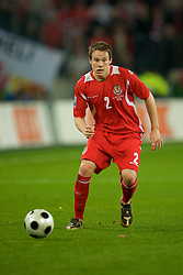 MONCHENGLADBACH, GERMANY - Wednesday, October 15, 2008: Wales' Chris Gunter in action against Germany during the 2010 FIFA World Cup South Africa Qualifying Group 4 match at the Borussia-Park Stadium. (Photo by David Rawcliffe/Propaganda)