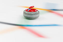 March 10, 2018 - Pyeongchang, SOUTH KOREA - 180310  A red curling stone during the wheelchair curling mixed round robin session between Sweden and China during day one of the 2018 Winter Paralympics on March 10, 2018 in Pyeongchang..Photo: Vegard Wivestad GrÂ¿tt / BILDBYRN / kod VG / 170113 (Credit Image: © Vegard Wivestad Gr¯Tt/Bildbyran via ZUMA Press)