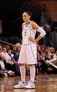 Aug 26, 2010; Phoenix, AZ, USA; Phoenix Mercury guard Diana Taurasi (3) reacts on the court during the first half against the San Antonio Silver Stars in game one of the western conference semi-finals in the 2010 WNBA Playoffs at US Airways Center.  The Mercury defeated the Silver Stars 106-93.  Mandatory Credit: Jennifer Stewart-US PRESSWIRE