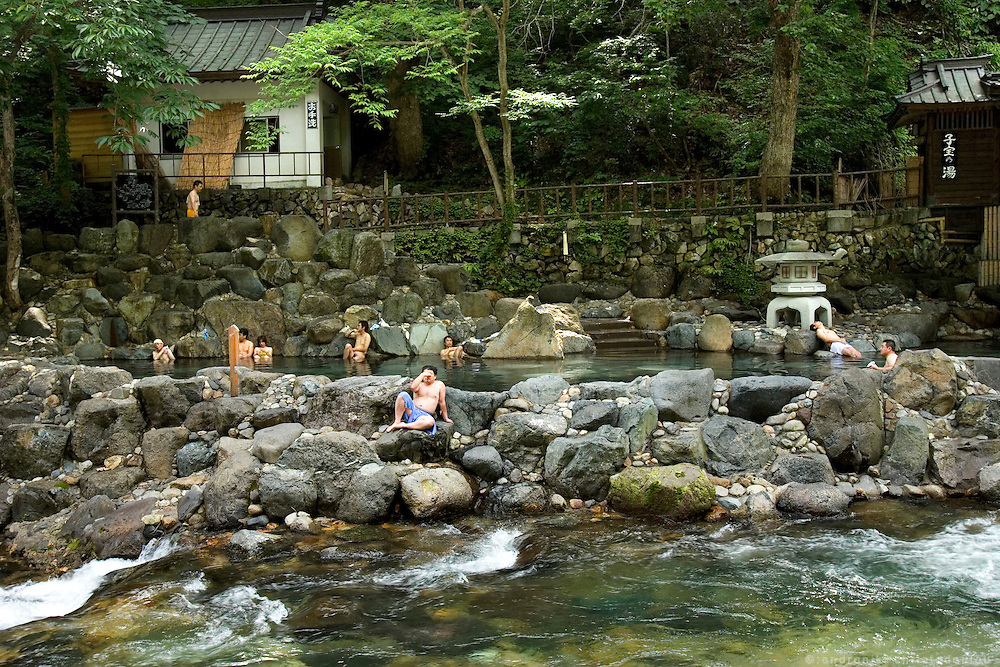 "Bathers in the mixed ""Kodakara no yu"" (children of pleasure hot spring) of the Takaragawa onsen (hot spring) in Gunma prefecture north of Tokyo. - JAPAN 8 July 2006"