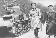 Leopold III of Belgium, 1901 – 1983 King of the Belgians from 1934 - 1951, when he abdicated. King Leopold with his War Minister General Denys attending pre war manoeuvres circa 1938. d