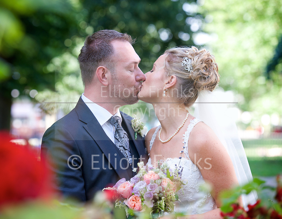 Blessing ceremony of Melonie Laubscher and Chris Johansson on Friday 18th July 2014 at the Holy Trinity Church, Clapham Common, London, Great Britain <br /> followed by a reception at Metro restaurant, Clapham.