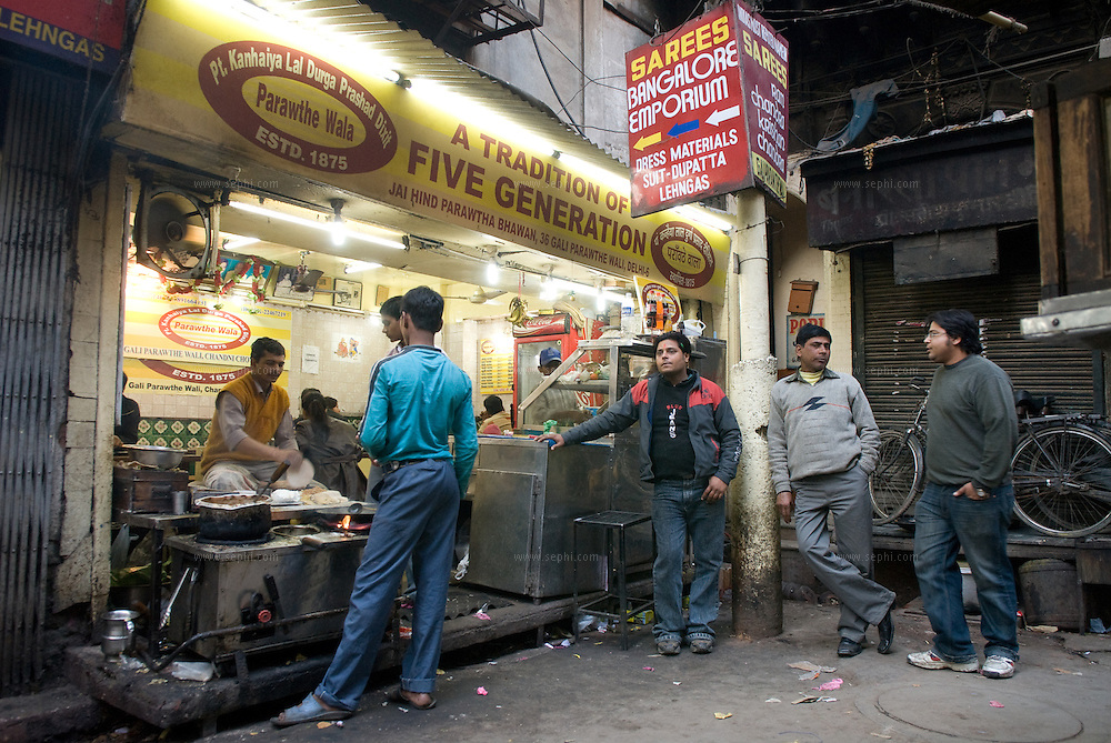 One of the famous Paratha restaurants at Parathe Wali Gali - 'street of paratha's' in Chandni Chock, Old Delhi
