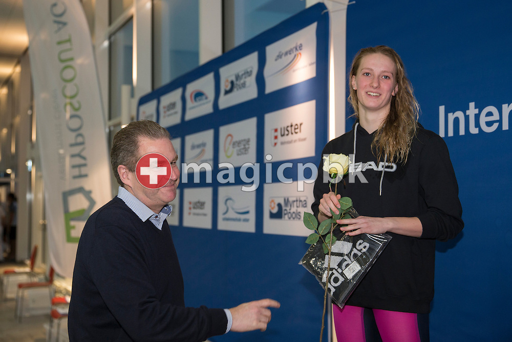 Jean-Pierre PFENNINGER (L), CEO of HYPOSCOUT AG, hands over the presents to second placed Dominika Sztandera of Poland during the award ceremony for the women's 50m Freestyle Final during the International Long Course Swim Meet Uster 2017 held at the Hallenbad Buchholz in Uster, Switzerland, Sunday, Feb. 5, 2017. (Photo by Patrick B. Kraemer / MAGICPBK)