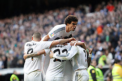 25.01.2014, Estadio Santiago Bernabeu, Madrid, ESP, Primera Division, Real Madrid vs FC Granada, 21. Runde, im Bild Real Madrid´s Cristiano Ronaldo celebrates, goal with the rest of the team // Real Madrid´s Cristiano Ronaldo celebrates, goal with the rest of the team during the Spanish Primera Division 21st round match between Real Madrid CF and Granada FC at the Estadio Santiago Bernabeu in Madrid, Spain on 2014/01/25. EXPA Pictures © 2014, PhotoCredit: EXPA/ Alterphotos/ Victor Blanco<br /> <br /> *****ATTENTION - OUT of ESP, SUI*****