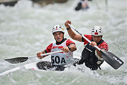 30.06.2013, Eiskanal, Augsburg, GER, ICF Kanuslalom Weltcup, Finale Kanu-Zweier Teams, Maenner. im Bild Hongmin YU (vorne) und Jin CHEN (hinten) aus China, Finale, Team, Kanu, Canoe, C2, Teams, Herren, China // during the final of canoe double of the men kayak team of ICF Canoe Slalom World Cup at the ice track, Augsburg, Germany on 2013/06/30. EXPA Pictures © 2013, PhotoCredit: EXPA/ Eibner/ Matthias Merz<br /> <br /> ***** ATTENTION - OUT OF GER *****