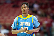 FAYETTEVILLE, AR - NOVEMBER 13:  Jarred Sam #12 of the Southern University Jaguars looks over to the bench during a game against the Arkansas Razorbacks at Bud Walton Arena on November 13, 2015 in Fayetteville, Arkansas.  The Razorbacks defeated the Jaguars 86-68.  (Photo by Wesley Hitt/Getty Images) *** Local Caption *** Jarred Sam