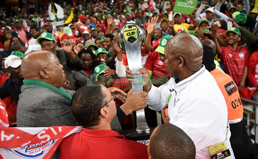 Cape Town-180519 Free State Stars coach chairman handsover the trophy to the team's fans  after winning the Nedbank Cup  against  Maritzburg United  at Cape Town stadium .photograph:Phando Jikelo/African News Agency/ANA