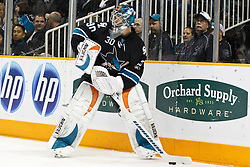 November 15, 2010; San Jose, CA, USA;  San Jose Sharks goalie Antero Niittymaki (30) clears the puck against the Los Angeles Kings during the first period at HP Pavilion. Mandatory Credit: Jason O. Watson / US PRESSWIRE