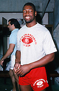 The National Football Conference San Francisco 49ers defensive end Charles Haley smiles in the locker room after practice during the week of the 1989 NFL Pro Bowl football game against the American Football Conference on Jan. 24, 1989 in Honolulu. The NFC won the game 34-3. (©Paul Anthony Spinelli)