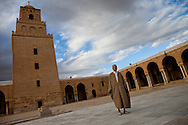 The new Imam at Karaouine's ancient grand mosque. The people voted him into power after the revolution marking a radical change from the state controling the mosque to the people controling their own mosque.