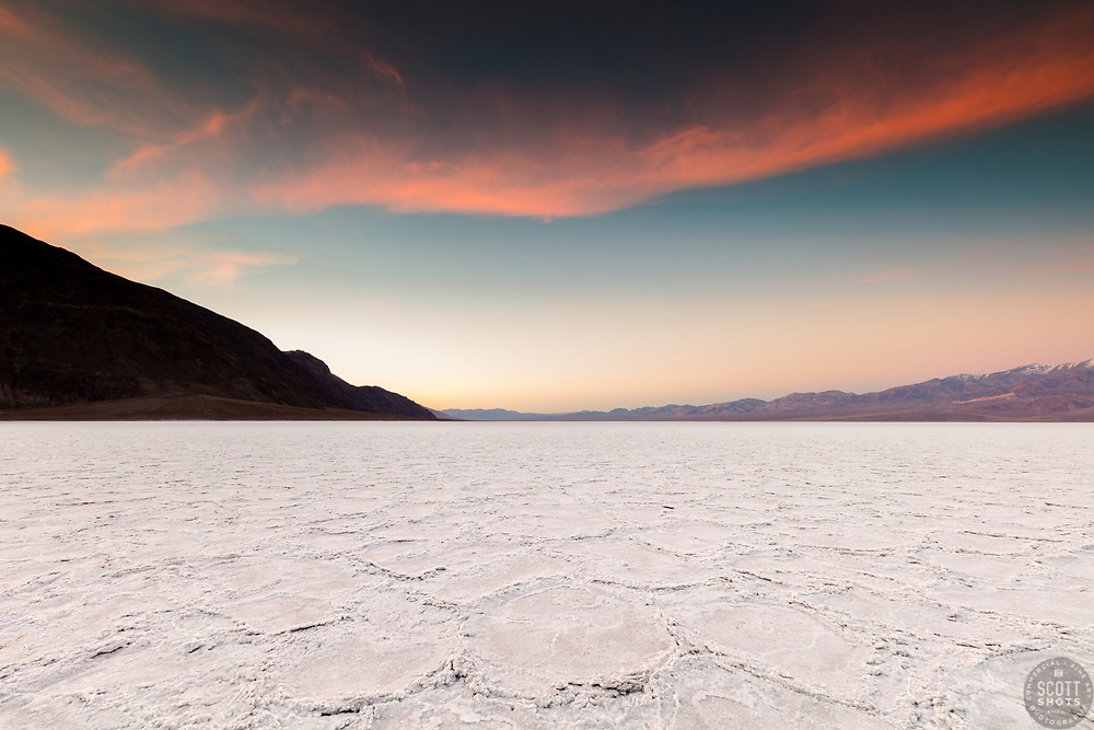 """""""Sunrise at Badwater Basin 2"""" - Sunrise photograph of salt flat formations at Badwater Basin in Death Valley, California."""