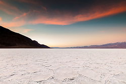 """Sunrise at Badwater Basin 2"" - Sunrise photograph of salt flat formations at Badwater Basin in Death Valley, California."